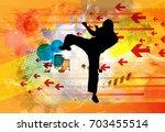 martial arts. high kick   Shutterstock .eps vector #703455514