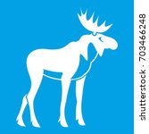 moose icon white isolated on... | Shutterstock . vector #703466248