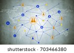 background image with social... | Shutterstock . vector #703466380