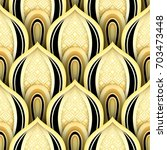 seamless pattern with gold and... | Shutterstock . vector #703473448