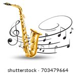 saxophone with music notes in... | Shutterstock .eps vector #703479664