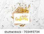 photo frame or gift card with... | Shutterstock . vector #703493734