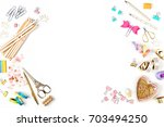 frame with stylish stationery....   Shutterstock . vector #703494250