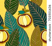 tropical fruits  pattern design.   Shutterstock .eps vector #703501636