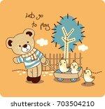 Stock vector a teddy bear cartoon pulling some chicken 703504210