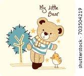 Stock vector a teddy bear cartoon with small chicken 703504219