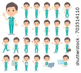 set of various poses of... | Shutterstock .eps vector #703514110