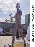 Small photo of Astana, Kazakhstan - July 6, 2017: Art festival. Sculpture represents neo nomad & made of metal remains of EXPO construction