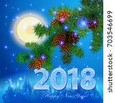 happy new year 2018 creative...   Shutterstock .eps vector #703546699
