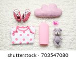 cute baby accessories on white... | Shutterstock . vector #703547080