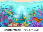 fish and coral reefs under the... | Shutterstock .eps vector #703574668