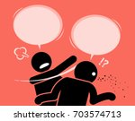 a man slaps his friend for... | Shutterstock .eps vector #703574713