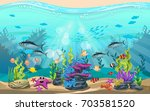vector illustration of the sea. ... | Shutterstock .eps vector #703581520