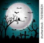 halloween night background | Shutterstock . vector #703583824