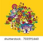 most famous festivals of kerala | Shutterstock .eps vector #703591660