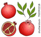 ripe pomegranate on white... | Shutterstock .eps vector #703592218