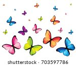 Set Of Six Colorful Butterfly...