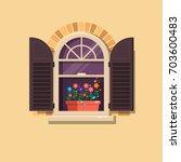 vector window with brown... | Shutterstock .eps vector #703600483