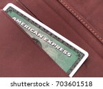 Small photo of ZAGREB, CROATIA - AUGUST 9, 2017: Green American express card in wallet. American express is one of most popular credit cards worldwide.