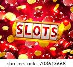 golden slots machine wins the... | Shutterstock .eps vector #703613668