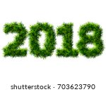 new year 2018 of wood isolated... | Shutterstock .eps vector #703623790