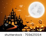 haunted house and full moon...   Shutterstock .eps vector #703625314