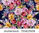 watercolor flower pattern | Shutterstock . vector #703625638