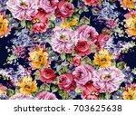 Stock photo watercolor flower pattern 703625638