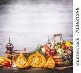 autumn seasonal food still life ... | Shutterstock . vector #703631398