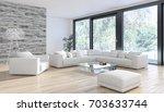 modern bright interiors. 3d...   Shutterstock . vector #703633744