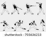 baseball players set   sketch... | Shutterstock .eps vector #703636213