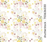 vintage floral pattern. cute... | Shutterstock .eps vector #703636330