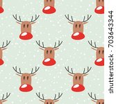 seamless pattern with elks and... | Shutterstock .eps vector #703643344