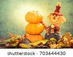 Funny Scarecrow And Autumn Cro...