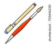 cool and cute pen and... | Shutterstock .eps vector #703646230