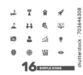 set of 16 strategy icons set... | Shutterstock .eps vector #703646308
