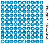 100 pumpkin icons set in blue... | Shutterstock . vector #703647838