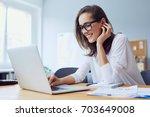 portrait of beautiful cheerful... | Shutterstock . vector #703649008
