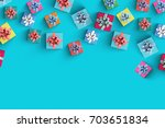 happy birthday and gift box on... | Shutterstock . vector #703651834