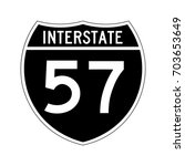 interstate highway 57 road sign.... | Shutterstock .eps vector #703653649