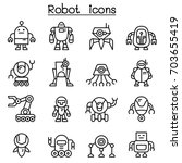 robot icon set in thin line... | Shutterstock .eps vector #703655419