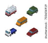 isometric automobile set of car ... | Shutterstock .eps vector #703656919
