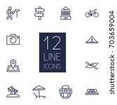 set of 12 travel outline icons... | Shutterstock .eps vector #703659004
