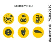 electric vehicle. set of vector ... | Shutterstock .eps vector #703660150