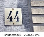 House Number 44  Square Gold...