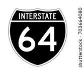 interstate highway 64 road sign.... | Shutterstock .eps vector #703664080