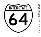interstate highway 64 road sign.... | Shutterstock .eps vector #703665949