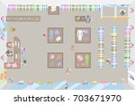 clothing shop top view. fashion ... | Shutterstock .eps vector #703671970