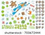 vector set of underwater sea...   Shutterstock .eps vector #703672444