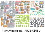set of landscape elements. city.... | Shutterstock .eps vector #703672468